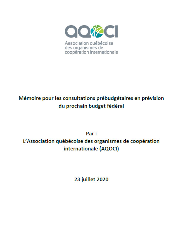 Mémoire budget fédéral 2020 AQOCI